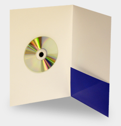 Pocket folder with adhesive foam fixing for CD or DVD