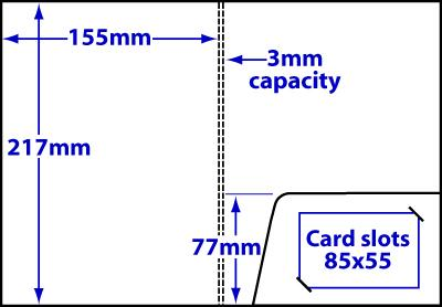 Diagram of product FA5_c3_459 A5 folder with 3mm capacity and glue-fixed pocket.