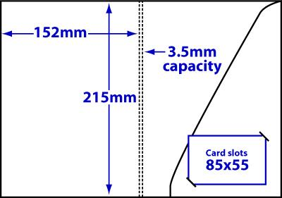 Diagram of product FA5_c3p5_369 A5 folder with 3.5mm capacity and triangular glue-fixed pocket.