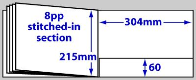 Diagram of product FBA4LS_12p, 12 page A4 landscape folder brochure
