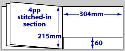 Diagram of product FBA4LS_8p, 8 page A4 landscape folder brochure