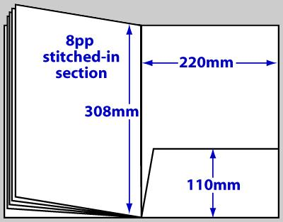 Diagram of product FBA4_12p, 12 page A4 folder brochure