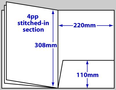 Diagram of product FBA4_8p, 8 page A4 folder brochure